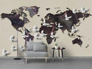 Tranh Dán Tường 3D Chim Bồ Câu VIETAD-1236