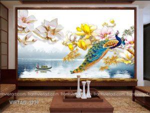 Tranh Dán Tường 3D Chim Công VIETAD-1379