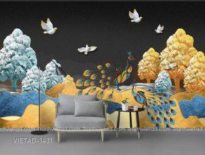 Tranh Dán Tường 3D Chim Công VIETAD-1431