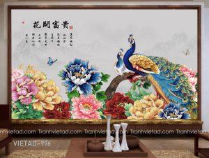Tranh Dán Tường Chim Công Hoa Mẫu Đơn VIETAD-996