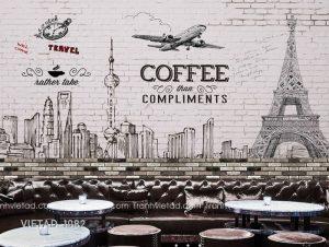 Tranh Dán Tường 3D Coffee VIETAD-1082