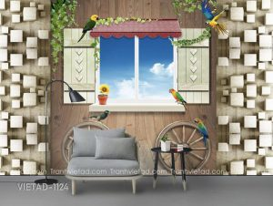 Tranh Dán Tường 3D Cửa Sổ VIETAD-1124