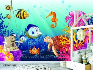 Tranh dán tường 3D đại dương VIETAD-1692