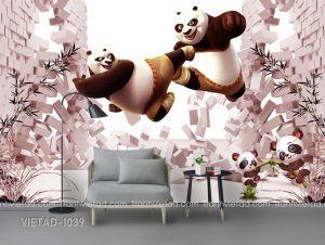 Tranh Dán Tường 3D Gấu Panda VIETAD-1039