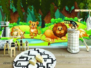 Tranh dán tường 3D gia đình sư tử VIETAD-1686