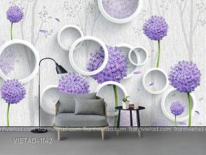 Tranh Dán Tường 3D Hoa Cẩm Tú Cầu VIETAD-1142