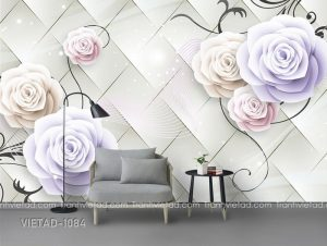 Tranh Dán Tường 3D Hoa Hồng VIETAD-1084