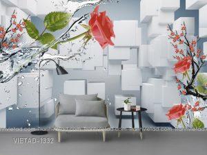 Tranh Dán Tường 3D Hoa Hồng VIETAD-1332