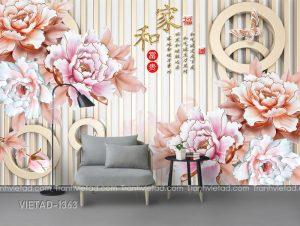 Tranh Dán Tường 3D Hoa Mẫu Đơn VIETAD-1363