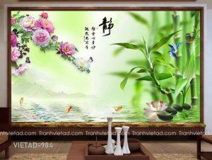 Tranh Dán Tường 3D Hoa Mẫu Đơn Cá Chép VIETAD-984
