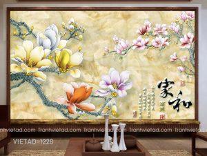 Tranh Dán Tường 3D Hoa Mộc Lan VIETAD-1228
