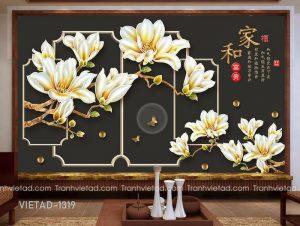 Tranh Dán Tường 3D Hoa Mộc Lan VIETAD-1319