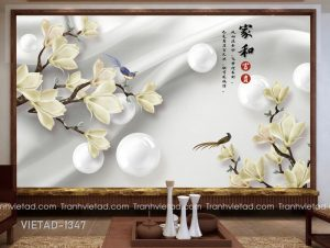 Tranh Dán Tường 3D Hoa Mộc Lan VIETAD-1347