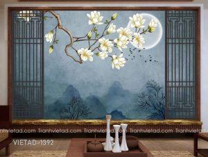 Tranh Dán Tường 3D Hoa Mộc Lan VIETAD-1392