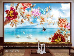 Tranh Dán Tường 3D Hoa Phong Cảnh VIETAD-1298
