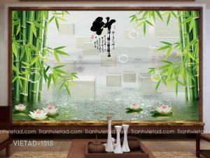 Tranh Dán Tường 3D Hoa Sen VIETAD-1018