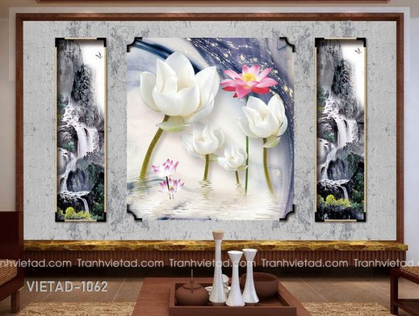 Tranh Dán Tường 3D Hoa Sen VIETAD-1062