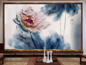 Tranh Dán Tường 3D Hoa Sen VIETAD-1201