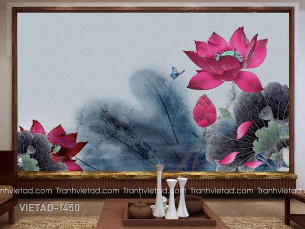 Tranh Dán Tường 3D Hoa Sen VIETAD-1450