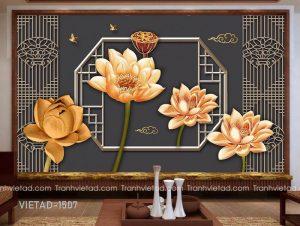 Tranh Dán Tường 3D Hoa Sen VIETAD-1507