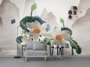 Tranh Dán Tường 3D Hoa Sen VIETAD-1564