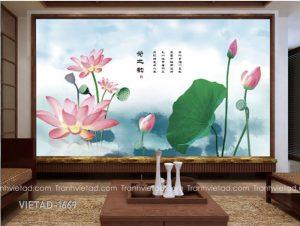 Tranh Dán Tường 3D Hoa Sen VIETAD-1669