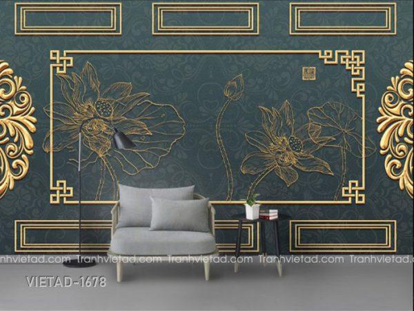 Tranh Dán Tường 3D Hoa Sen VIETAD-1678
