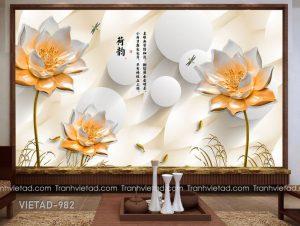 Tranh Dán Tường 3D Hoa Sen VIETAD-982