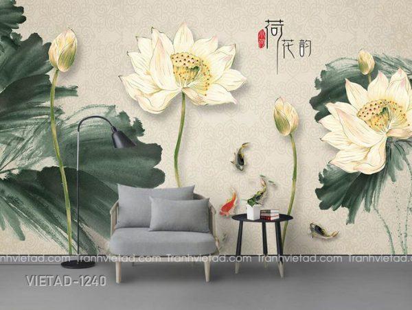 Tranh Dán Tường 3D Hoa Sen Cá Chép VIETAD-1240