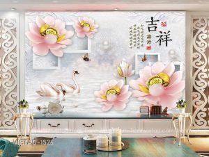 Tranh Dán Tường 3D Hoa Sen Thiên Nga VIETAD-1526