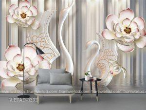Tranh dán tường 3d hoa thiên nga VIETAD-1202