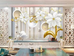Tranh dán tường 3d hoa thiên nga VIETAD-1369