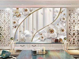 Tranh dán tường 3d hoa thiên nga VIETAD-1378
