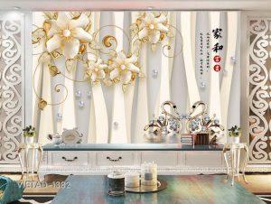 Tranh dán tường 3D hoa thiên nga VIETAD-1382