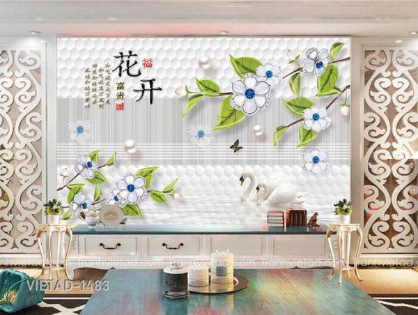 Tranh dán tường 3D hoa thiên nga VIETAD-1483