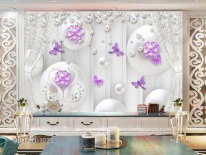 Tranh dán tường 3d hoa trang sức VIETAD-1027