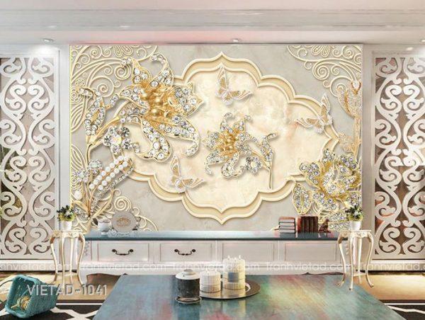 Tranh dán tường 3d hoa trang sức VIETAD-1041