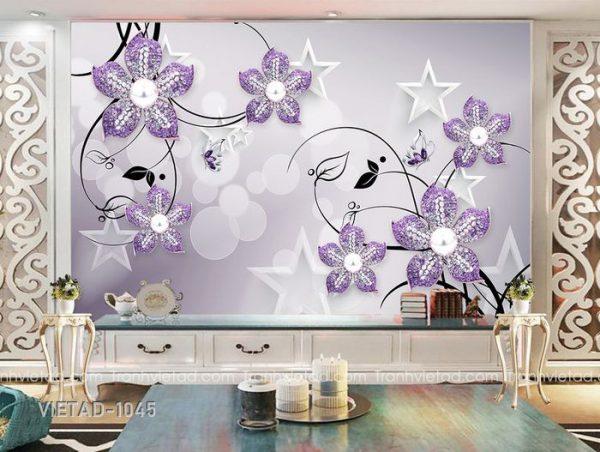 Tranh dán tường 3d hoa trang sức VIETAD-1045
