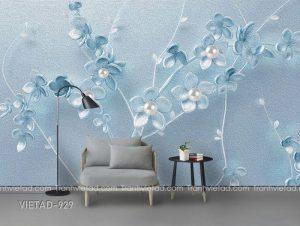 Tranh dán tường 3D hoa thiên nga VIETAD-929
