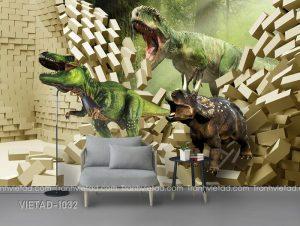 Tranh Dán Tường 3D Khủng Long VIETAD-1032