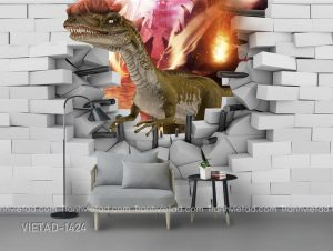 Tranh Dán Tường 3D Khủng Long VIETAD-1424