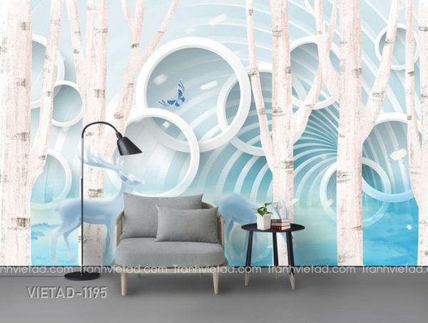 Tranh Dán Tường 3D Rừng Cây VIETAD-1195
