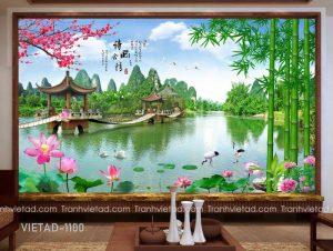Tranh Dán Tường 3D Sơn Thủy VIETAD-1100