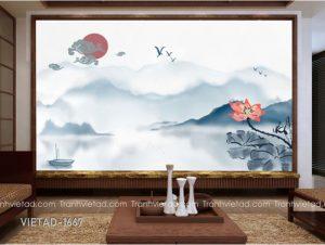 Tranh Dán Tường 3D Sơn Thủy VIETAD-1667