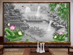 Tranh Dán Tường 3D Sơn Thủy VIETAD-979