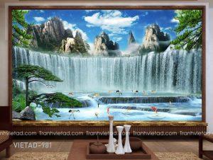 Tranh Dán Tường 3D Sơn Thủy VIETAD-981