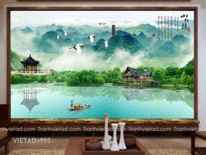 Tranh Dán Tường 3D Sơn Thủy VIETAD-993