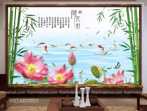 Tranh Dán Tường 3D Sơn Thủy Cửu Ngư VIETAD-1023