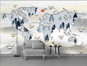 Tranh Dán Tường 3D Sơn Thủy Trừu Tượng VIETAD-1250