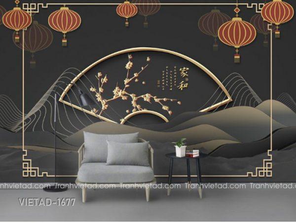 Tranh Dán Tường 3D Sơn Thủy Trừu Tượng VIETAD-1677